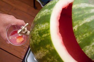 It's actually fairly simple. Cleaning out the watermelon and turning