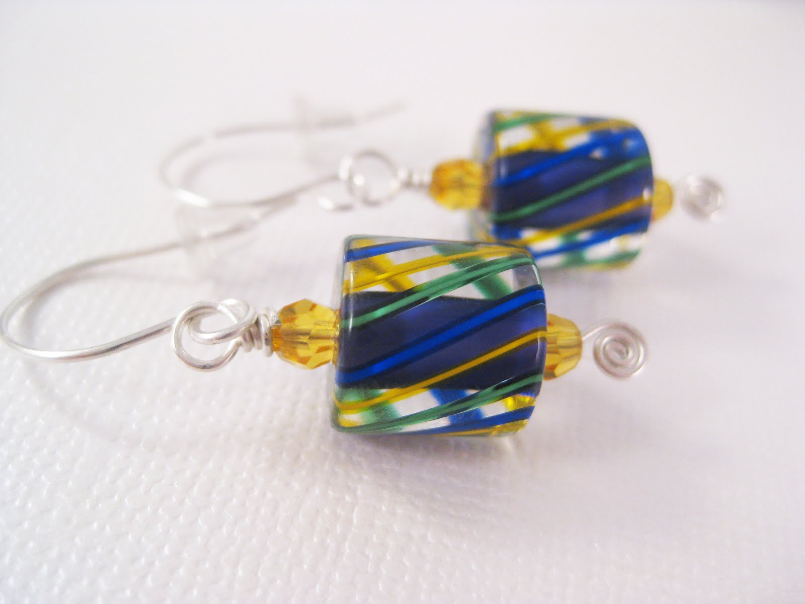 Blue/Yellow/Green Cane Glass Silver Wire Wrapped Earrings