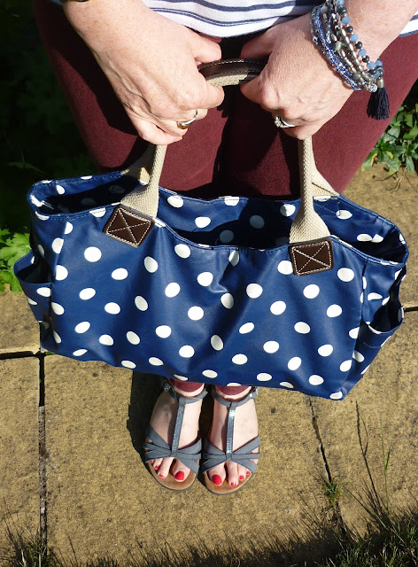Ochre Skinny Jeans, Polka Dot Bag, Blue Sandals | Petite Silver Vixen