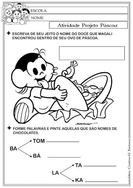 Atividade Páscoa Turma da Mônica  - Formação de Palavras