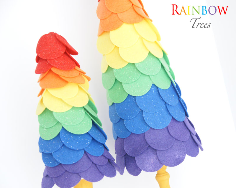 Rainbow Topiaries | a perfect, fun, bright and festive craft for St. Patrick's Day | #stpatricksday #topiaries #felt #crafts