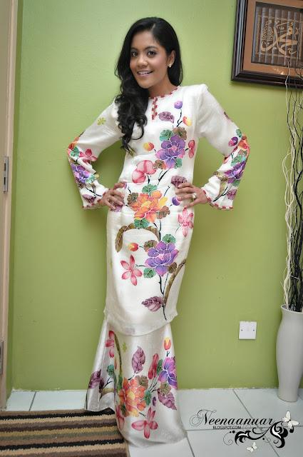 baju kurung moden batik sutera terengganu with princess cut