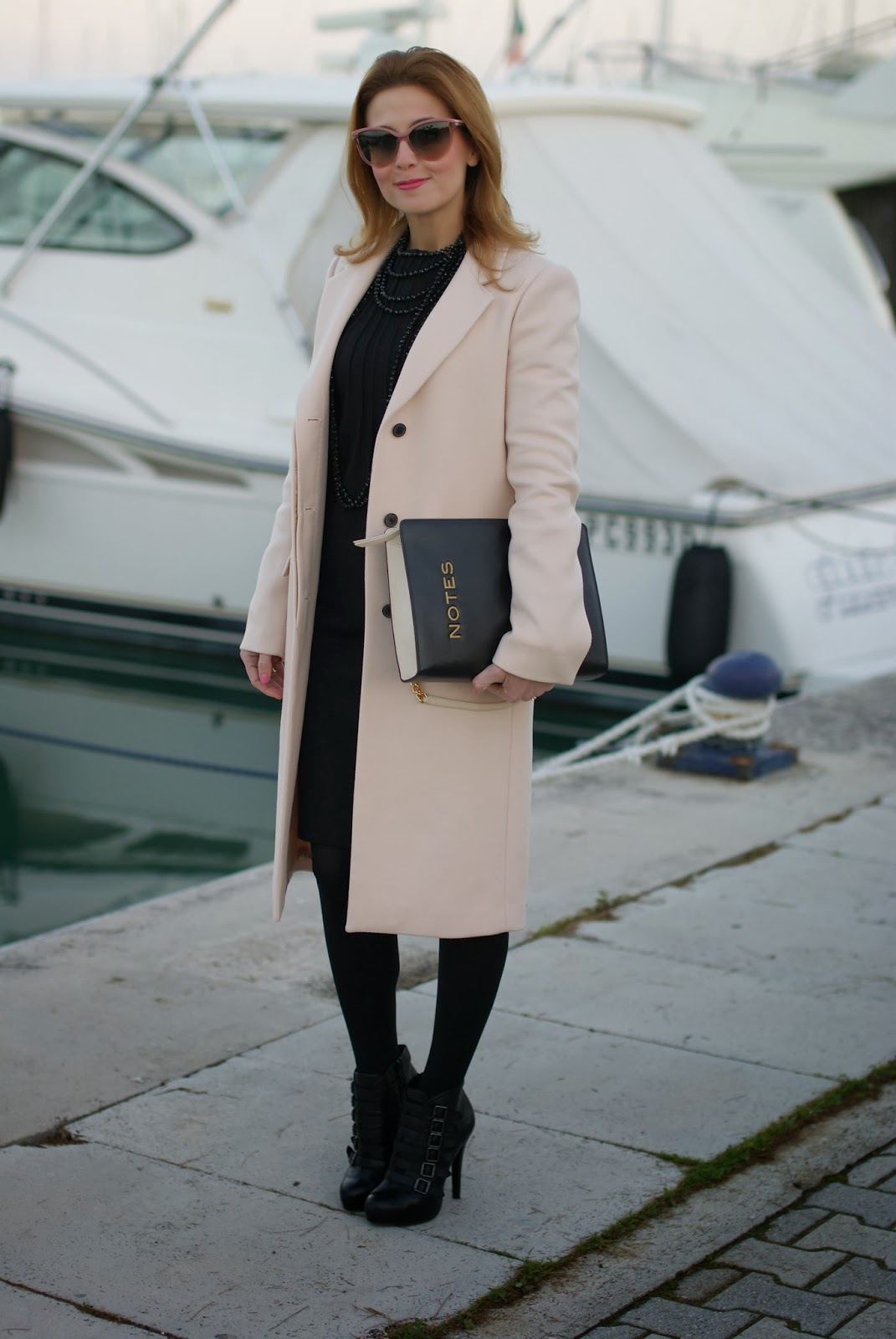 pink coat, cappotto rosa zara, moschino notes bag, fashion and cookies, fashion blogger