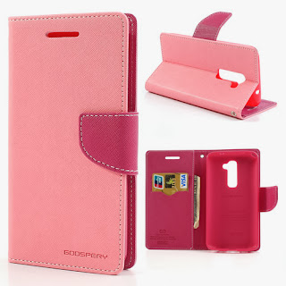 Mercury Fancy Diary Leather Case Wallet Stand with Card Slot for LG Optimus G2 D801 D802 D803 - Pink