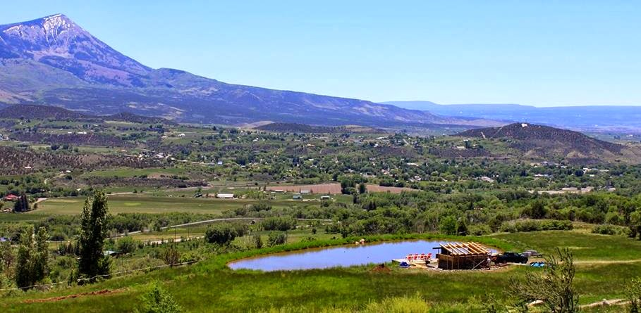 The pond at Azura overlooking Paonia, CO and the North Fork Valley