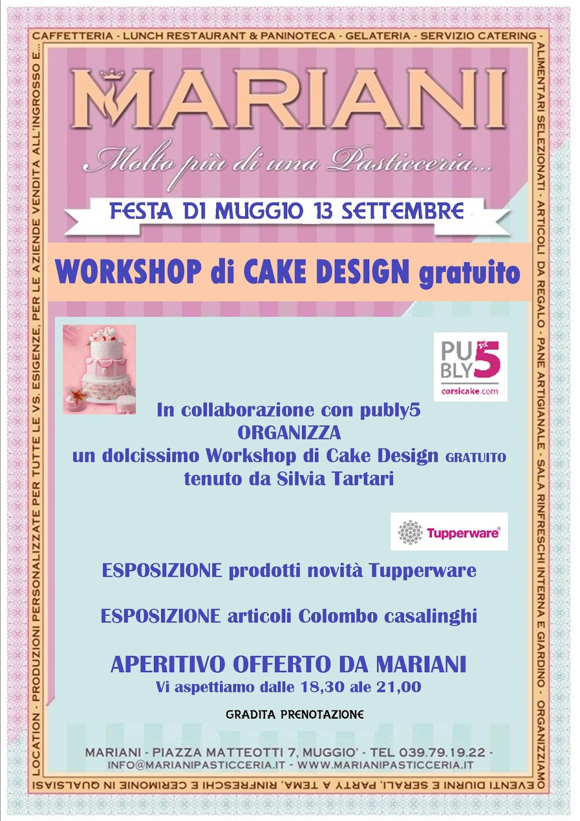 Workshp gratuito di cake design 13 settembre muggi mb for Disposizione seminterrato di design gratuito