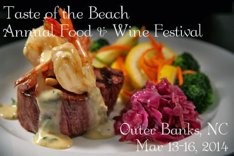 "Shrimp and filet mignon on a plate with text overlay of ""Taste of the Beach Annual Food and Wine Festival at the Outer Banks, NC on March 13-16, 2014"