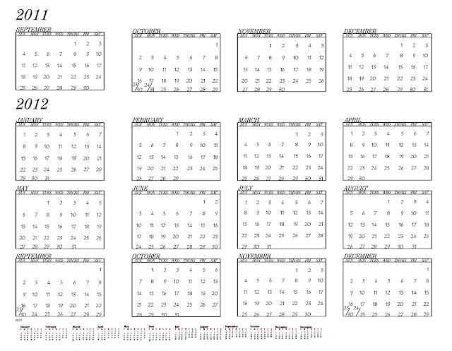 2012 calendar template plain