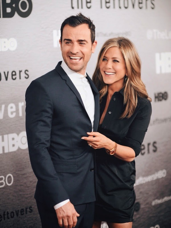 Jennifer Anniston and Justin Theroux in Dior Homme suit The Leftovers premiere New York City 23 June 2014