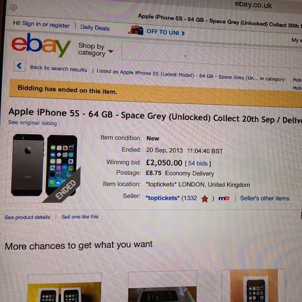 iPhone 5s sold for £2000 on ebay