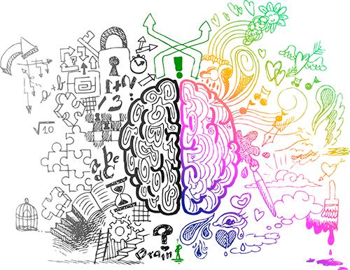höger och vänster hjärnhalva
