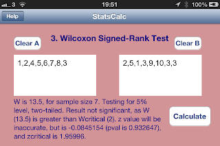 Wilcoxon Signed Rank test ios iphone app SciStatCalc