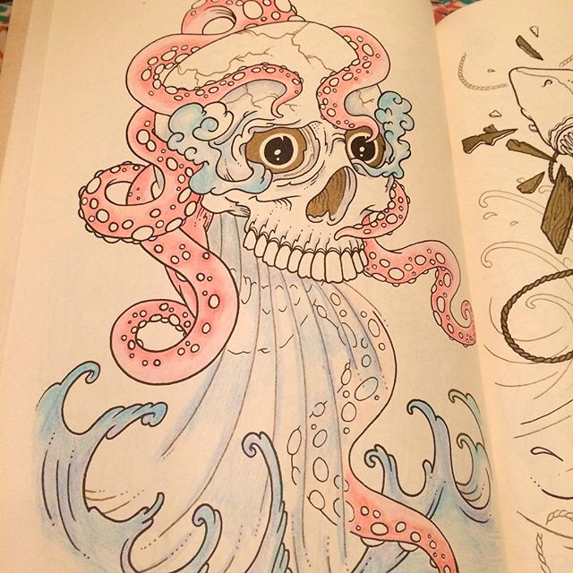 i shared a long shot of this picture on sunday but heres a closer one theres a little more color in real life it always looks more washed out in - The Tattoo Coloring Book