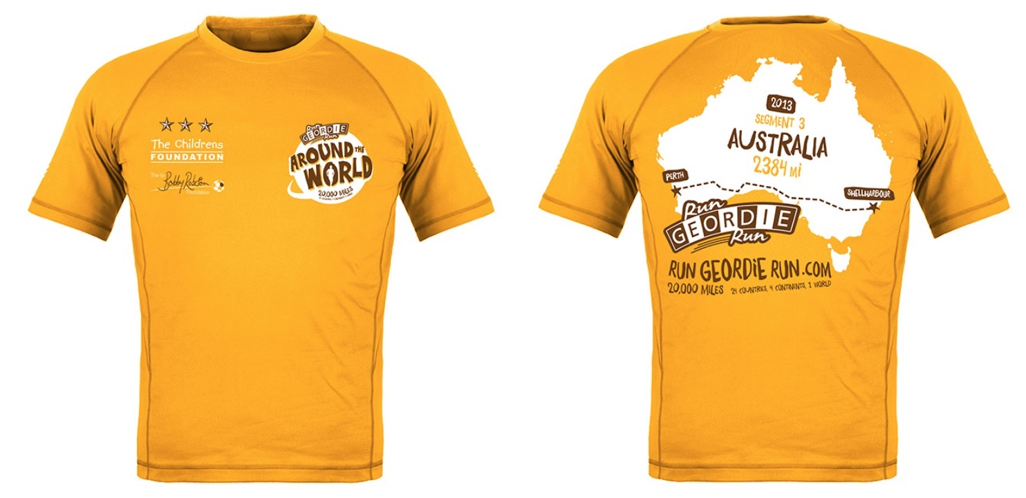 Run geordie run around the world new commemorative for Design t shirts online australia
