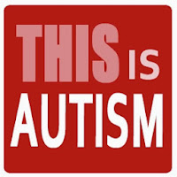 "Red background with pink and white letters that say: ""THIS is AUTISM"""