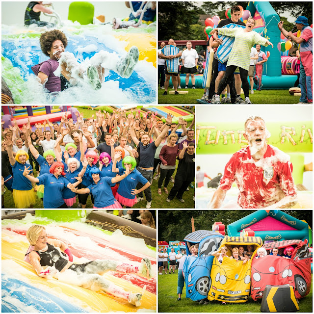 Collage featuring photos from the It's A Knockout tournament at York Racecourse / Knavesmire - Chris Jones Photography