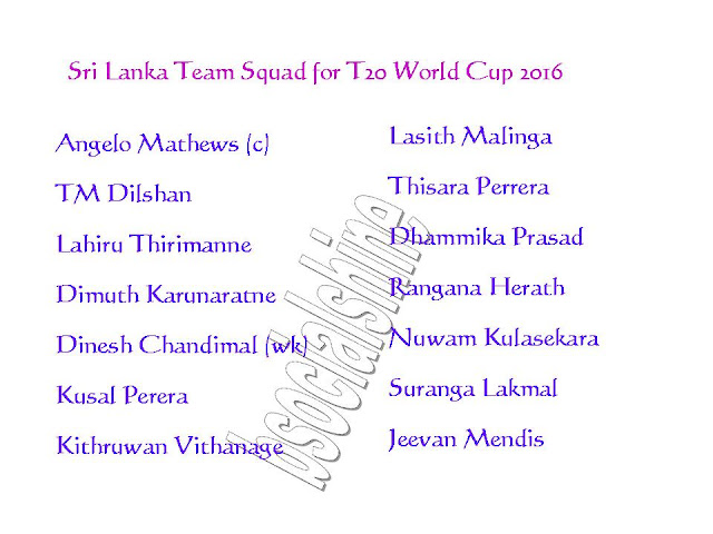 Sri Lanka Team Squad for T20 World Cup 2016,2016 ICC World Twenty20,all teams squad for t20 world cup 2016,player list for t20 world cup,Sri Lanka team player,Sri Lanka 11,player list.,ICC T20 World Cup 2016 Sri Lanka team squad,Sri Lanka team for t20 world cup 2016,confirmed Sri Lanka team squad for t20 world cup 2016,Sri Lanka team squad 2016,final 11 player,Sri Lanka final 11 player for t20 world cup 2016,Sri Lanka player list,team squad ICC T20 World Cup 2016 Sri Lanka Team Squad  Click this link for more detail..    Sri Lanka  Players List : Angelo Mathews (c), TM Dilshan, Lahiru Thirimanne, Dimuth Karunaratne, Dinesh Chandimal (wk), Kusal Perera, Kithruwan Vithanage, Lasith Malinga, Thisara Perrera, Dhammika Prasad, Rangana Herath, Nuwam Kulasekara, Suranga Lakmal, Jeevan Mendis,