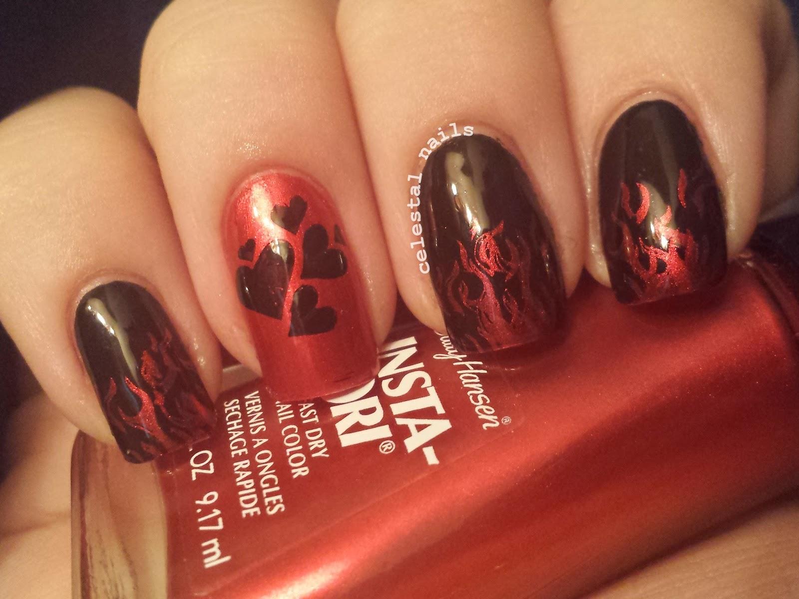 Hearts and Flames Nail Art | Celestal Nails