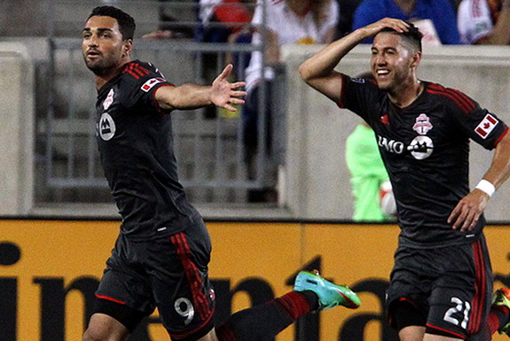 Toronto FC striker Gilberto celebrates after scoring a goal against New York Red Bulls
