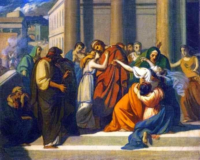 Ο Οιδίποδας αποχαιρετά την Ιοκάστη. Cabanel, Alexandre, 1843, Ελαιογραφία (μελέτη). Έξω από το ανάκτορο ο Οιδίποδας, μπροστά σε πλήθος κόσμου, αποχαιρετά τη σύζυγό του και μητέρα των παιδιών του Ιοκάστη, αφού πρώτα έχει αυτοτυφλωθεί. Η Αντιγόνη πέφτει λιπόθυμη προς τα πίσω, εκεί όπου βρίσκεται η αδερφή της Ισμήνη που την προφυλάσσει. Musée Duplessis - Carpentras