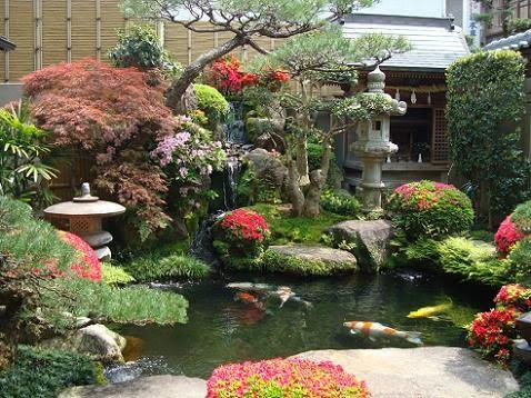 adems de rboles y arbustos los jardines japoneses emplean artsticamente rocas arena colinas artificiales estanques y agua en movimiento - Jardines Japoneses