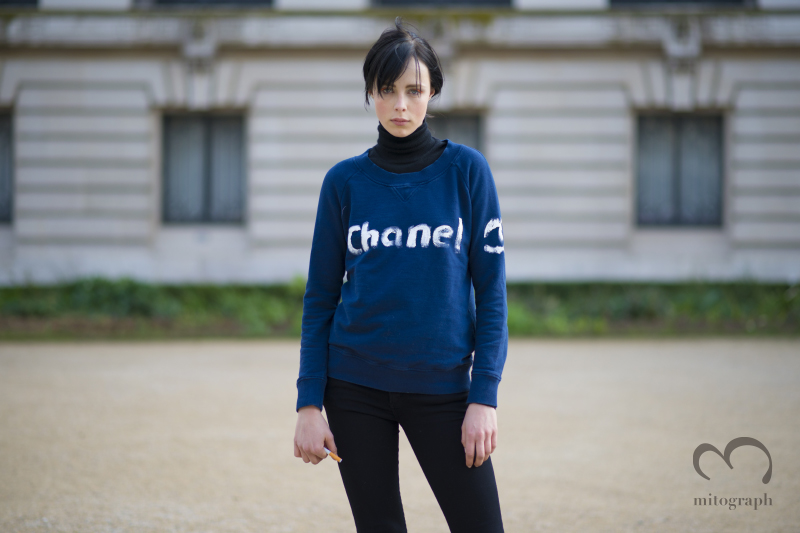 Model Edie Campbell wearing Chanel Sweater at Gland Palais during Paris Fashion Week 2014 Fall Winter Season PFW