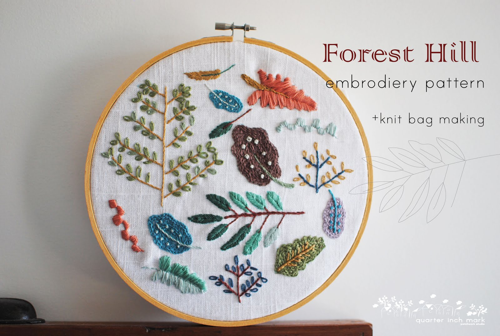 Forest Hill Embroidery Patter+knit bag making