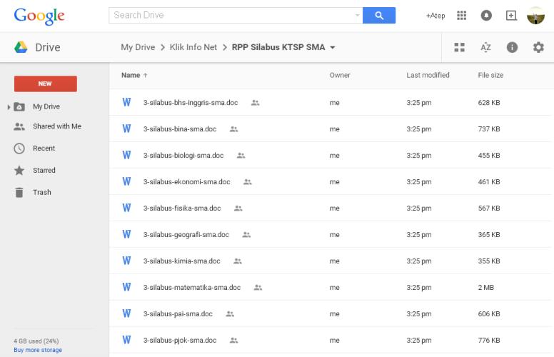 RPP dan Silabus SMA Kelas X, XI, XII KTSP di Google Drive