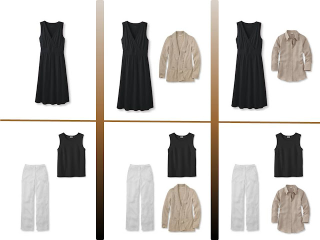 """six outfits from a """"Whatever's Clean"""" summer wardrobe in black, white, olive and khaki"""