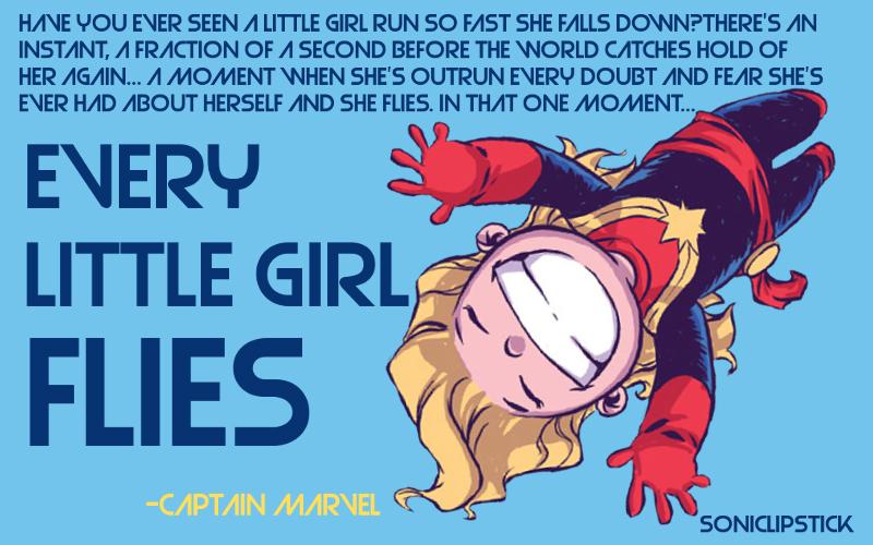 Na imagem: desenho da Capitã Marvel num formato infantil com um sorrisão voando com os braços pra cima. Ao lado um texto em inglês (traduzido após a imagem)