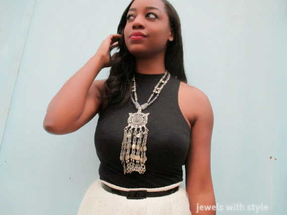 super statement necklace, m renee design, tulle skirt, jewels with style, black and white outifit, large statement necklace, black fashion blogger, handmade jewelry