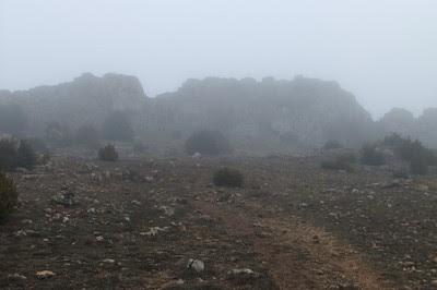 Se vislumbra la cima entre la niebla