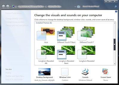screen saver dan theme windows 7 pada laptop maupun pc yang sobat