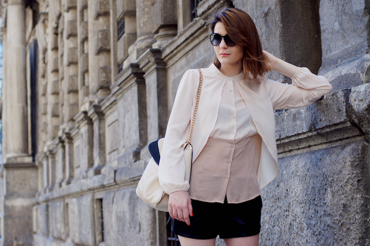 bicolor blouse beige and brown