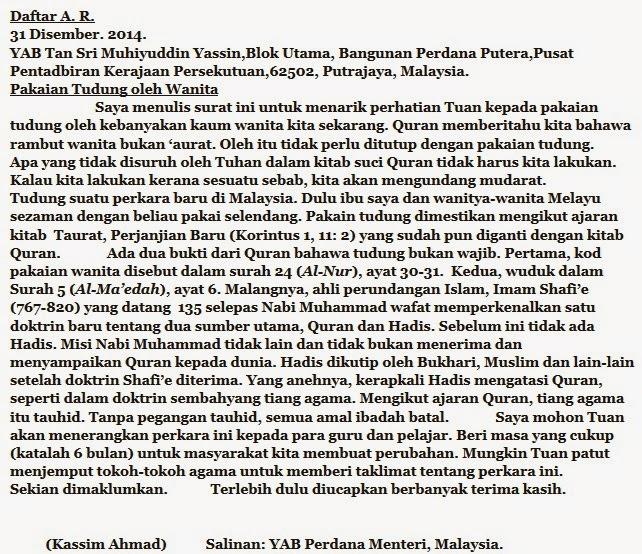 Tudung ajaran Kitab Taurat - Surat Kassim Ahmad