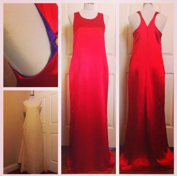 My DIY Red Satin Mardi Gras Ball Gown with Pockets