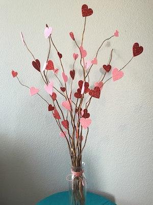 Rbol de ramas secas con corazones - Ramas de arbol para decorar ...
