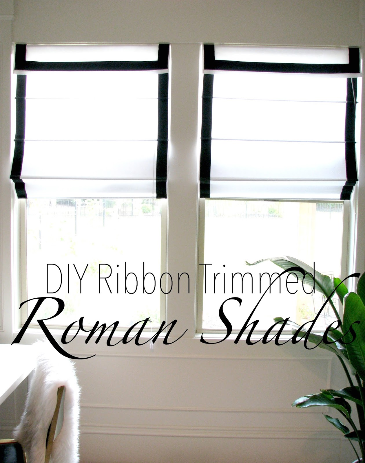 life love larson look for less challenge diy ribbon trimmed white roman shades from jcp online several years ago and two of them found their way to the office space each roman shade was about 25 the windows