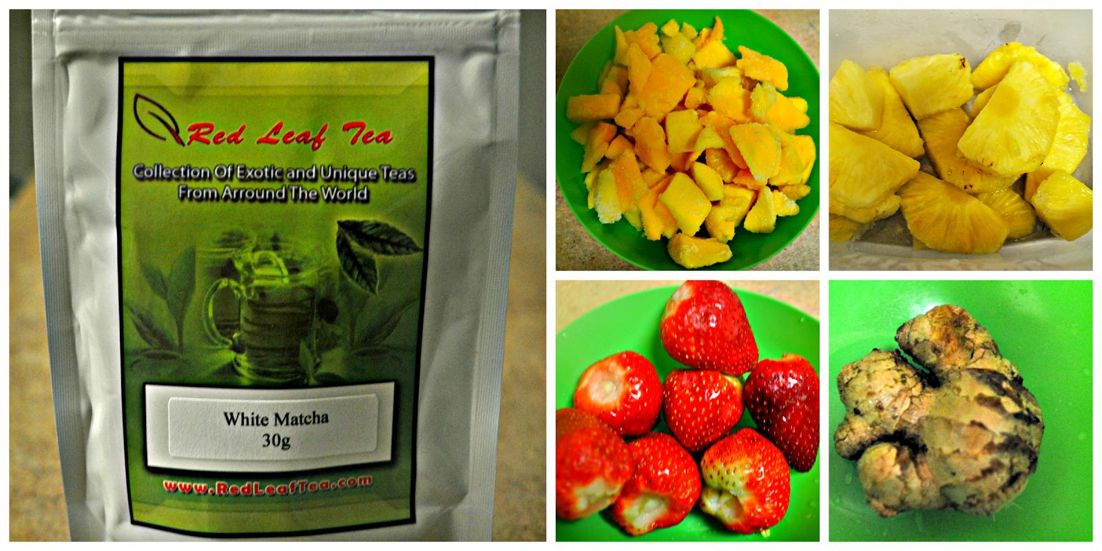 White matcha tea, mangoes, pineapples, strawberries, ginger