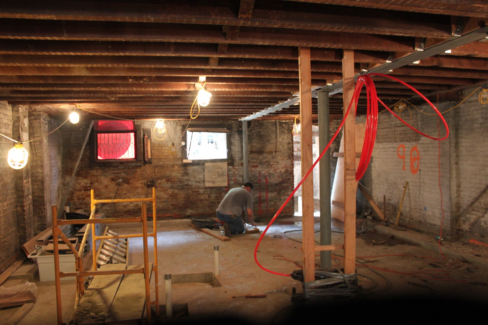 Lovely Brownstone Basement Part - 7: Given The 24u0027 Span On This House, The Beam And Column Support Are Doing  More Work Than On Say A 14u0027 Wide Brownstone. Basement Looking Towards Front