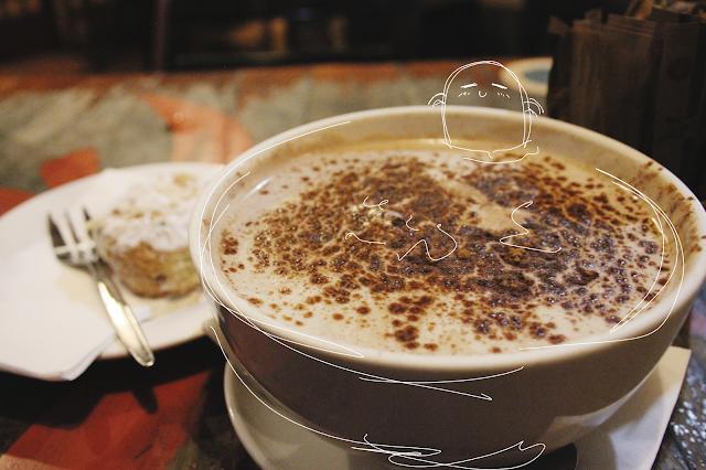 Brisbane, Australian blogging, Three Monkeys Cafe,  trendy Brisbane, cool cafes, hipster cafe, chai latte in a bowl, illustrated