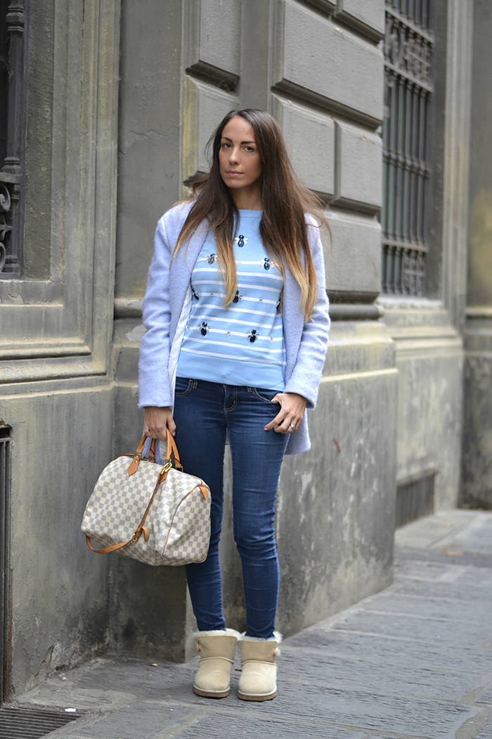 maglioncino righe bianco azzurro