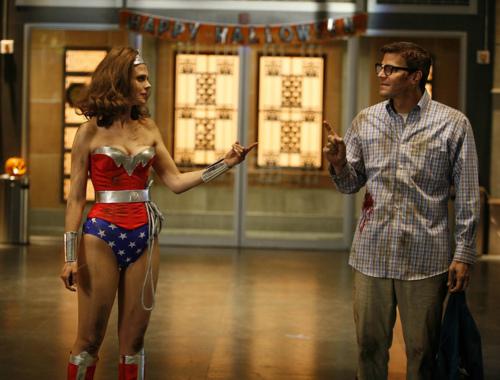 Emily Deschanel as Wonder Woman in the Halloween episode of Bones
