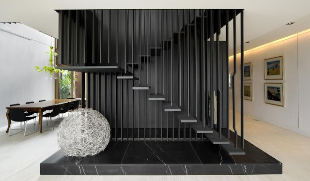 Thin black stairs