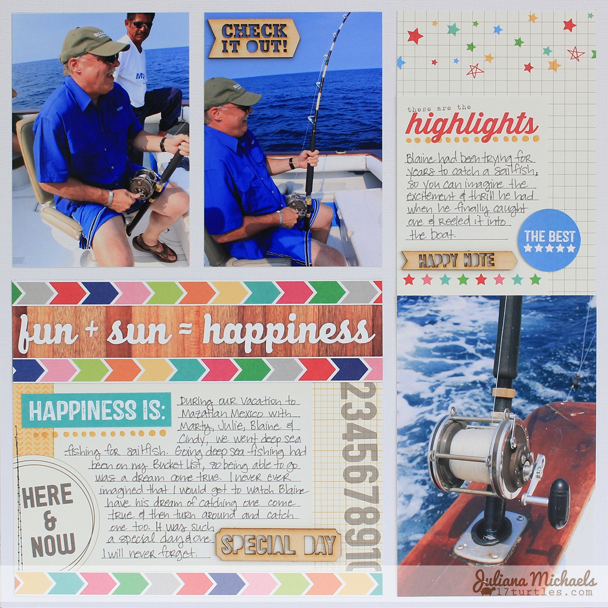 Fun Sun Happiness Scrapbook Page by Juliana Michaels #ellesstudio #scrapbookpage #shine