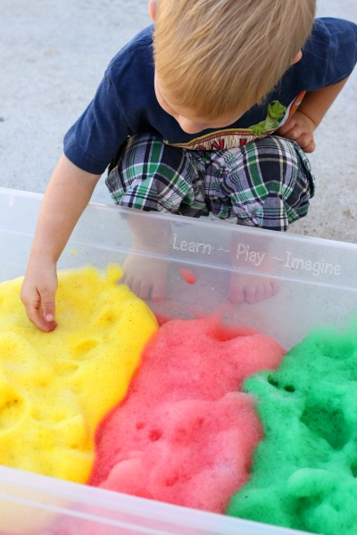 Apple scented soap foam - a simple to make sensory material that is fun for all ages!