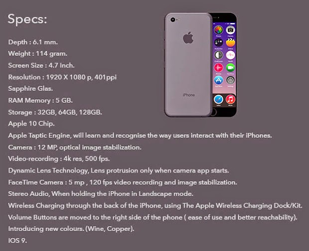 Specifications : iphone 7