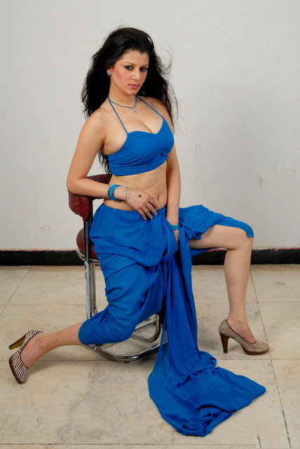 Cute Manasi in Blue Saree