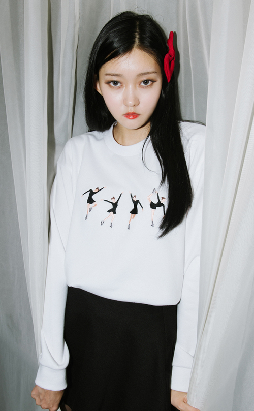 Embroidered Ice Skater Girl Sweatshirt