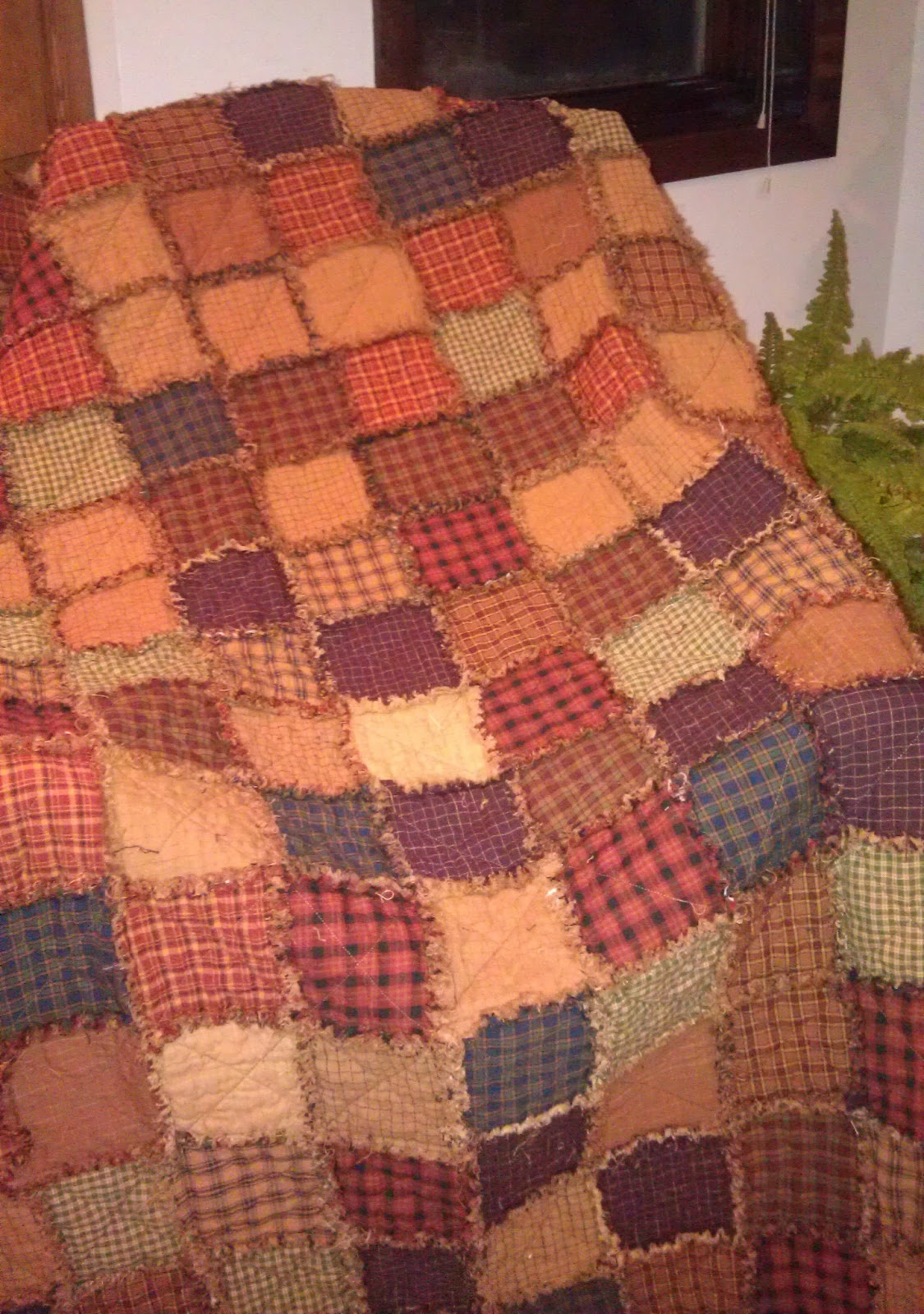 Quilt Patterns For Homespun Fabric : Jo s Craft Journey: Homespun rag quilt